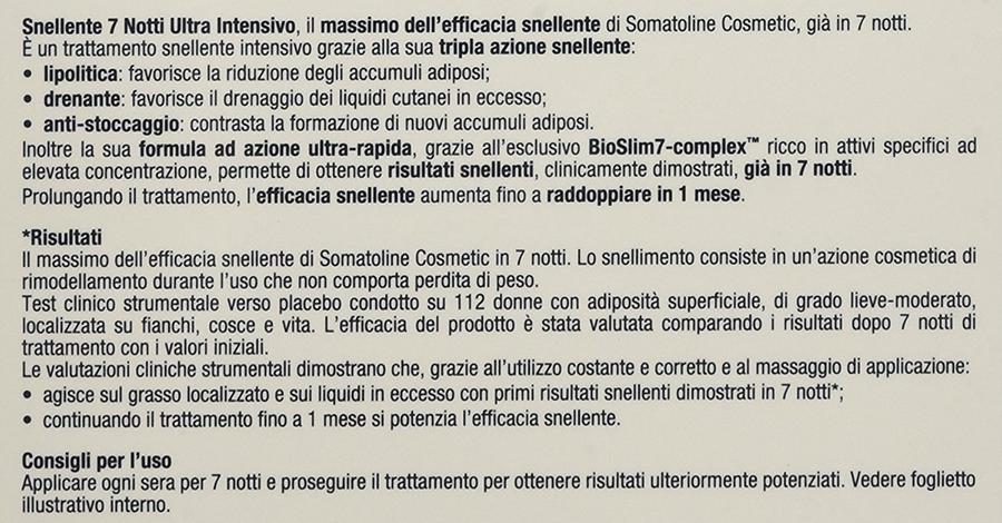 somatoline Snellente 7 notti Ultra Intensivo ingredienti